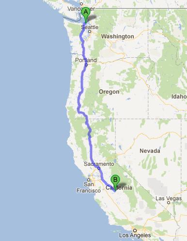 Washington to Madera, CA